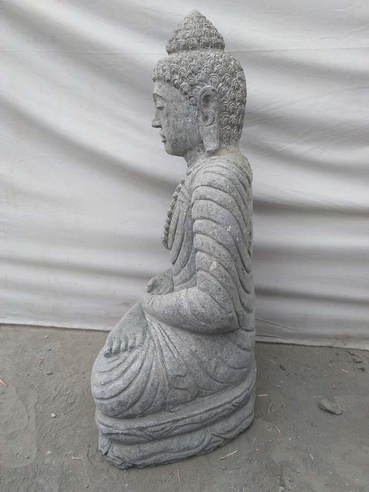 Statue en pierre bouddha assis jardin ext rieur collier 80 cm - Statue bouddha exterieur pour jardin ...