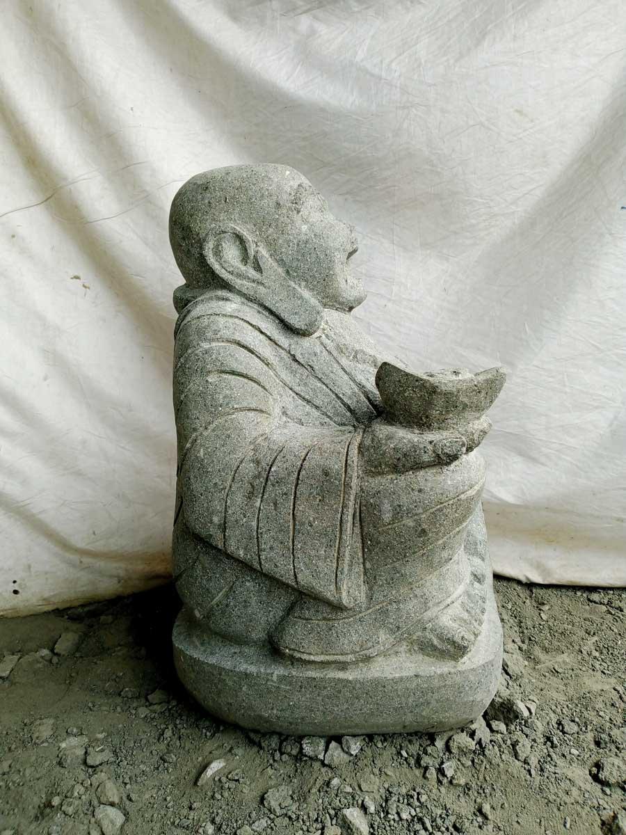 Statue En Pierre De Lave Bouddha Rieur 60 Cm Wanda