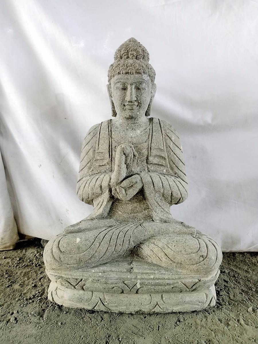 statue en pierre jardin exterieur bouddha position chakra 55 cm. Black Bedroom Furniture Sets. Home Design Ideas