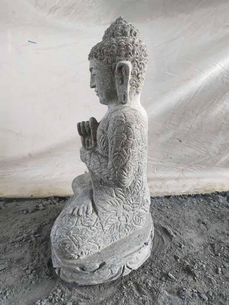 Statue en pierre volcanique jardin exterieur bouddha - Statue bouddha exterieur pour jardin ...
