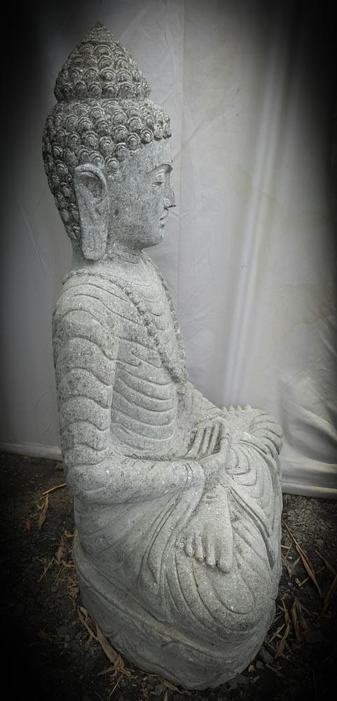 Statue exterieur bouddha assis pierre volcanique collier - Statue bouddha exterieur pour jardin ...