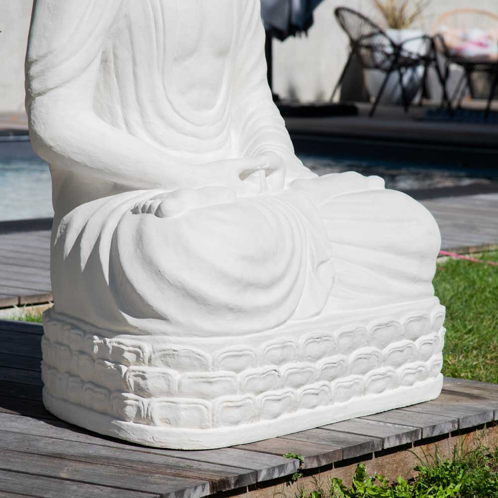 statue jardin bouddha assis en fibre de verre position chakra 150 cm blanc. Black Bedroom Furniture Sets. Home Design Ideas