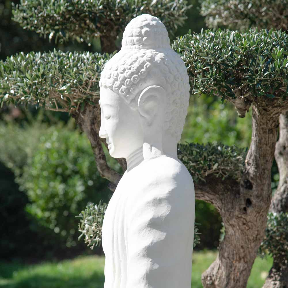 statue jardin bouddha assis en fibre de verre position chakra 150 cm blanc. Black Bedroom Furniture Sets. Home Design Ideas