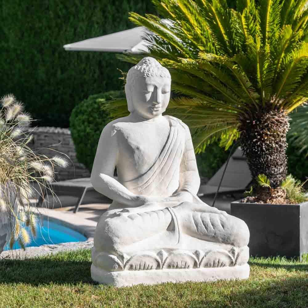 Statue jardin bouddha assis en fibre de verre position offrande 105 cm blanc - Statue jardin ...
