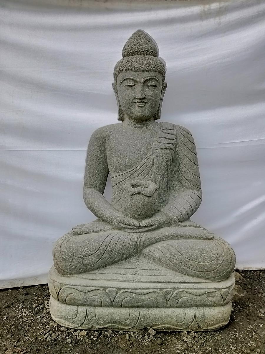 Statue jardin bouddha assis pierre volcanique bol 1m20 - Statue bouddha pour jardin ...