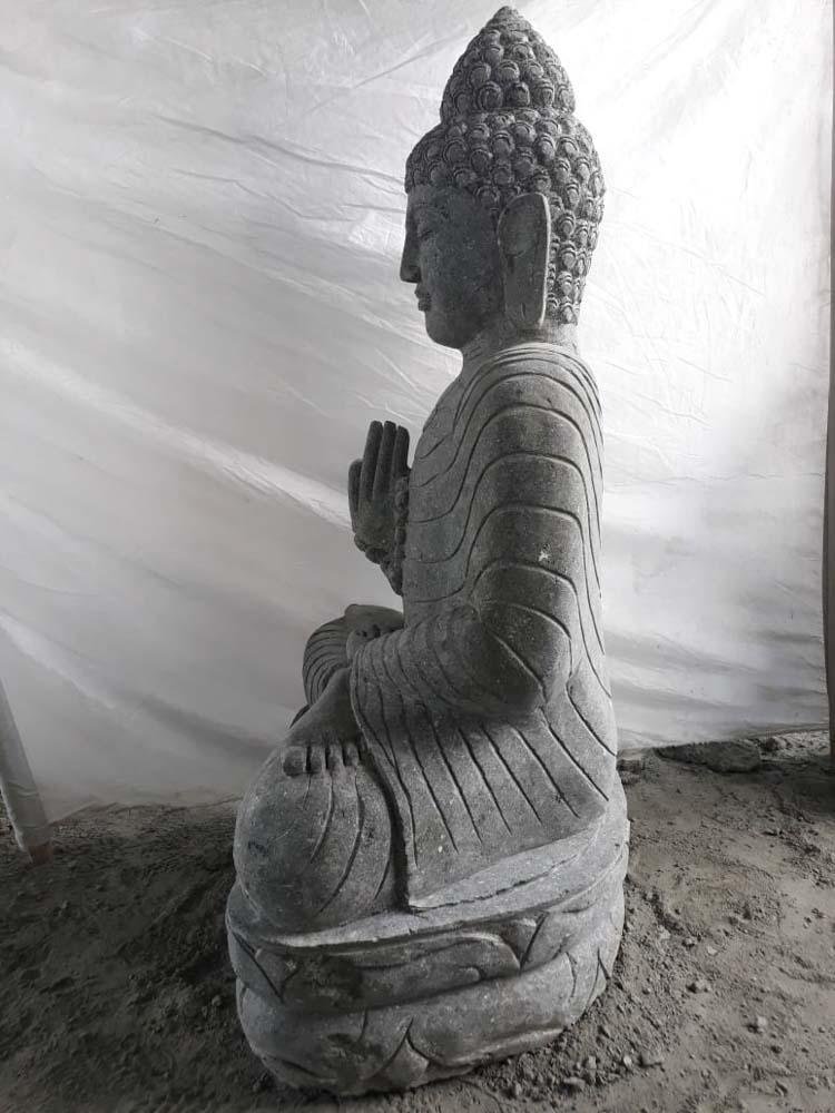 statue jardin zen bouddha assis en pierre naturelle offrande et chapelet 1m20. Black Bedroom Furniture Sets. Home Design Ideas