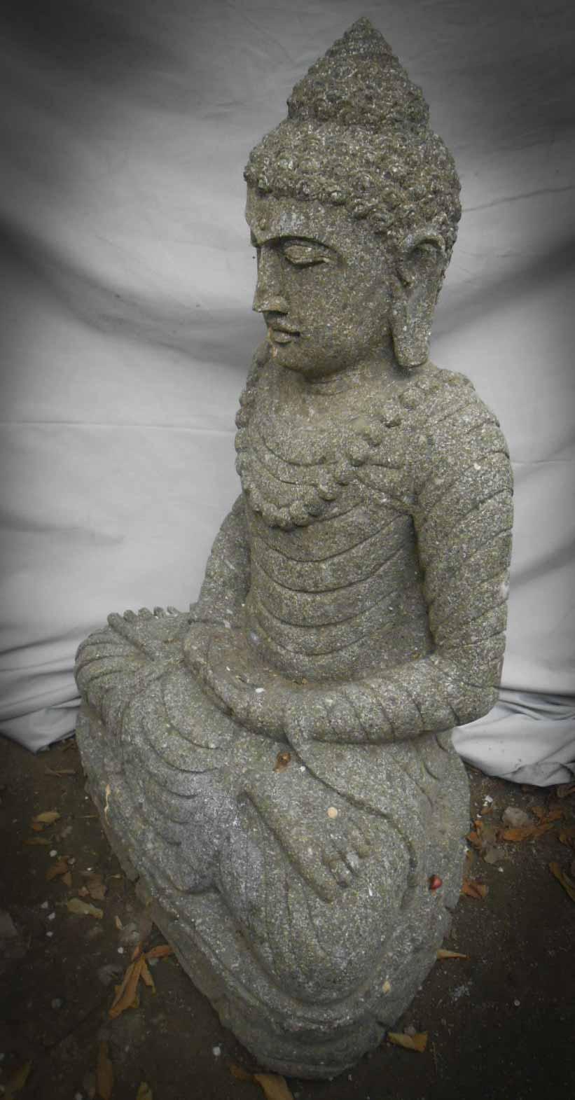 Statue jardin zen exterieur bouddha assis pierre - Statue bouddha exterieur pour jardin ...