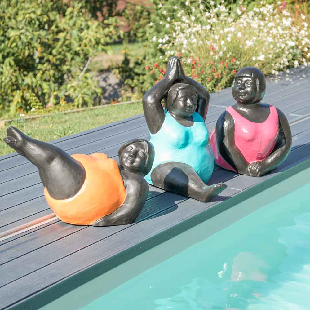 Sculpture Femme Ronde Colorée statue moderne femme ronde position yoga turquoise