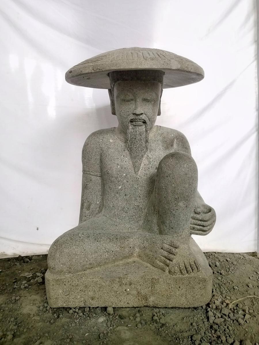 Statue P 234 Cheur Japonais Pierre Volcanique 80cm Wanda