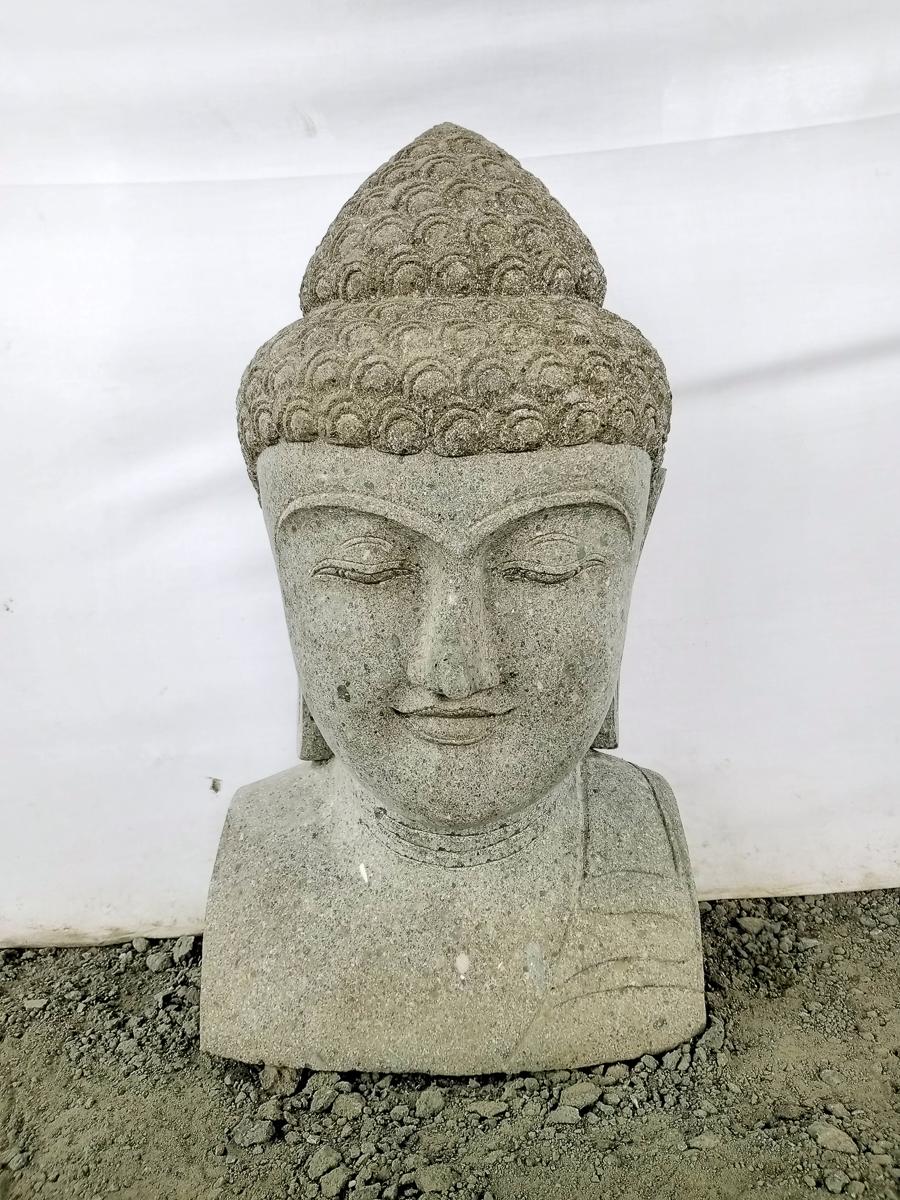 statue buste bouddha pierre volcanique 70 cm. Black Bedroom Furniture Sets. Home Design Ideas