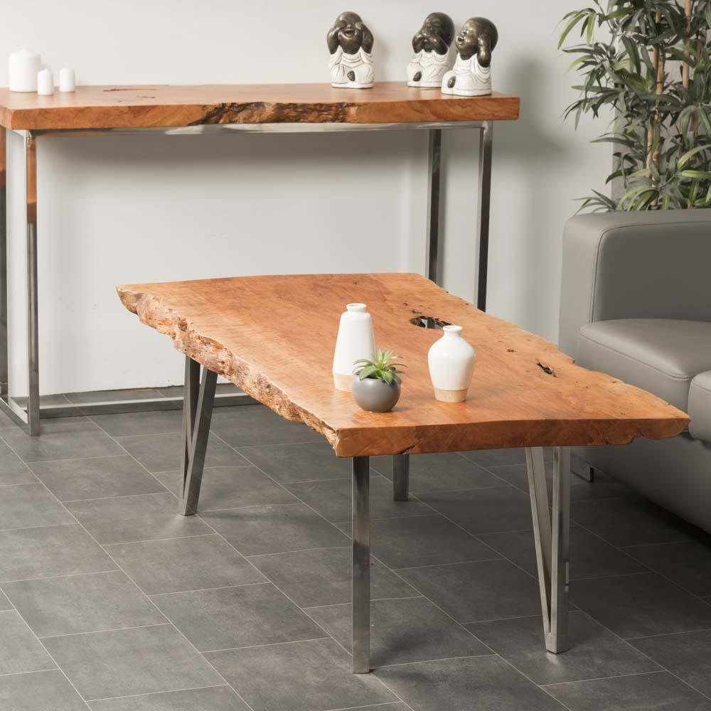 Table Basse Bois Table Basse Rectangulaire Litchi Inox 130cm Farm