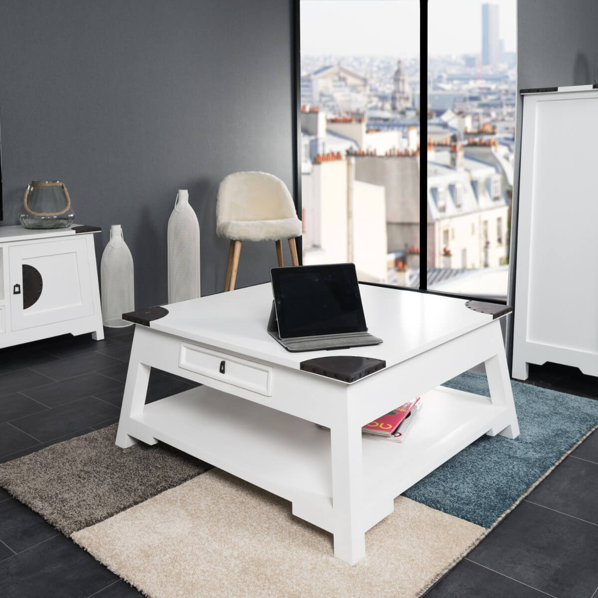Table basse acajou bois massif carr e blanche thao 85 cm - Table basse de salon ...