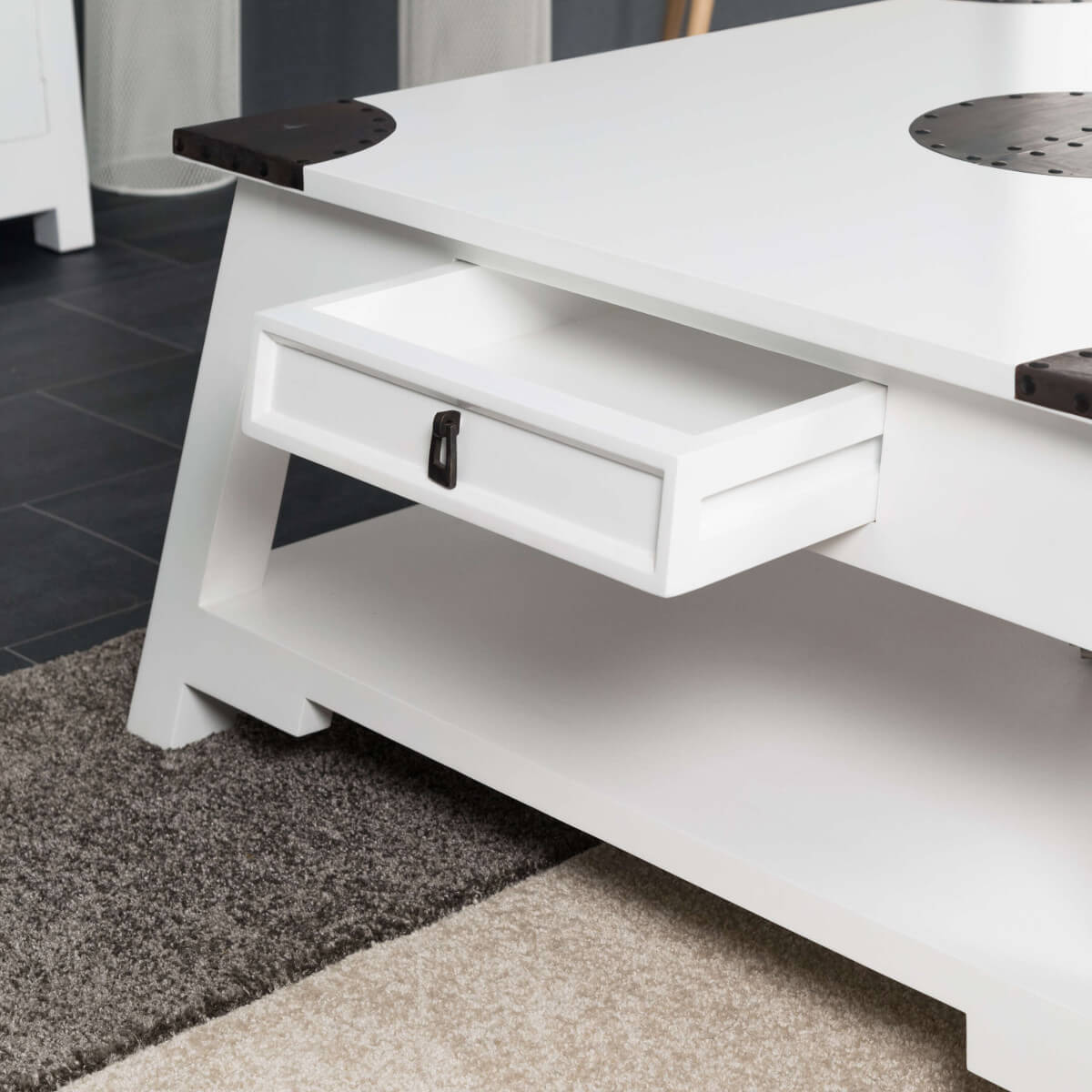 Table basse acajou bois massif carr e blanche thao 85 cm for Table basse 85 cm
