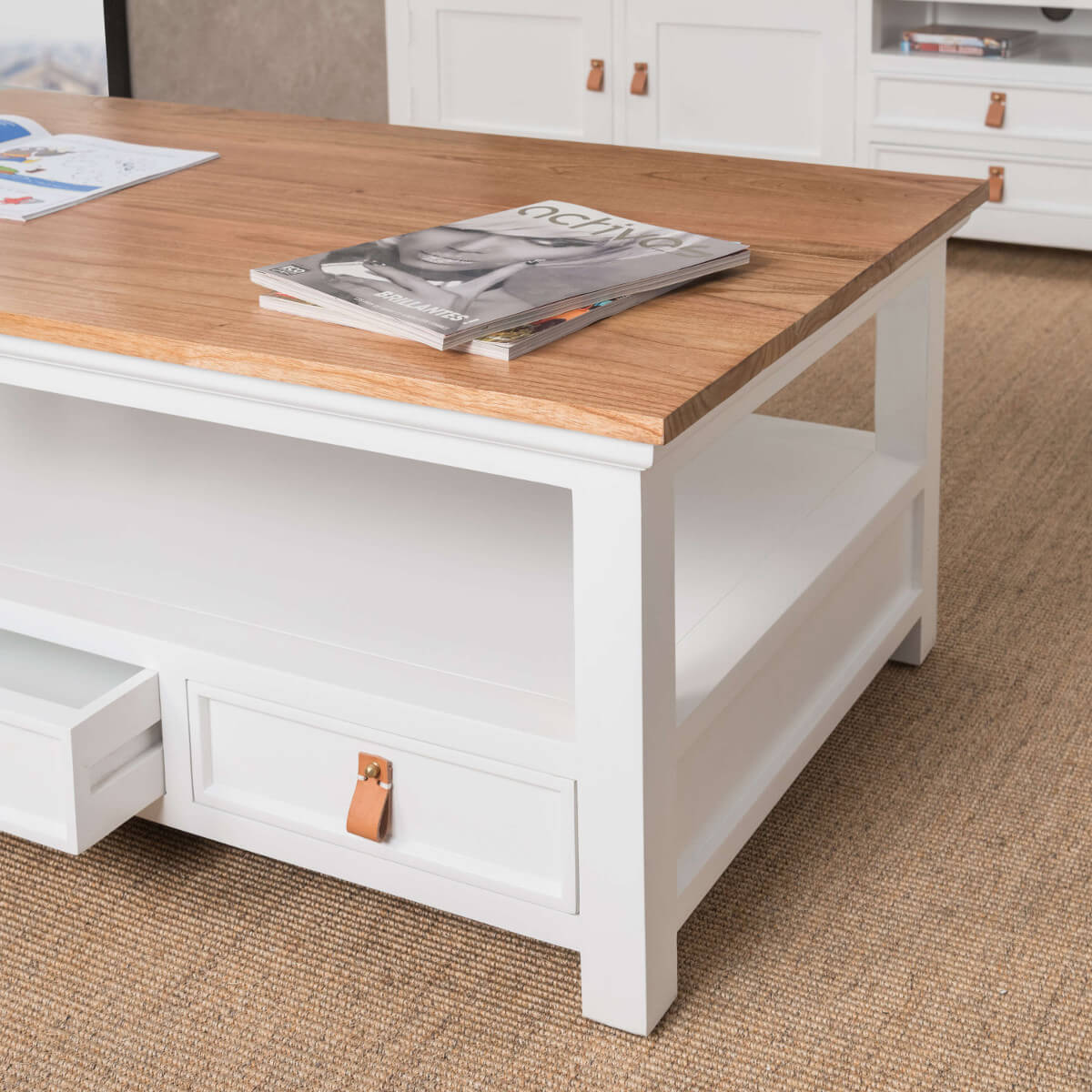 table basse acajou bois massif rectangle blanche chic 120 cm. Black Bedroom Furniture Sets. Home Design Ideas