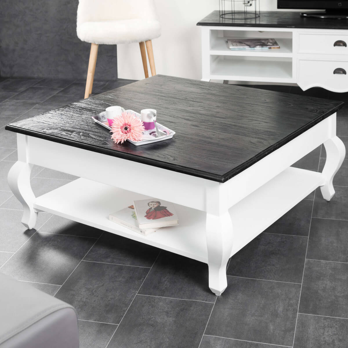 Table basse carr e meuble salon bois massif blanche noire idao 95 cm - Table basse salon carree ...