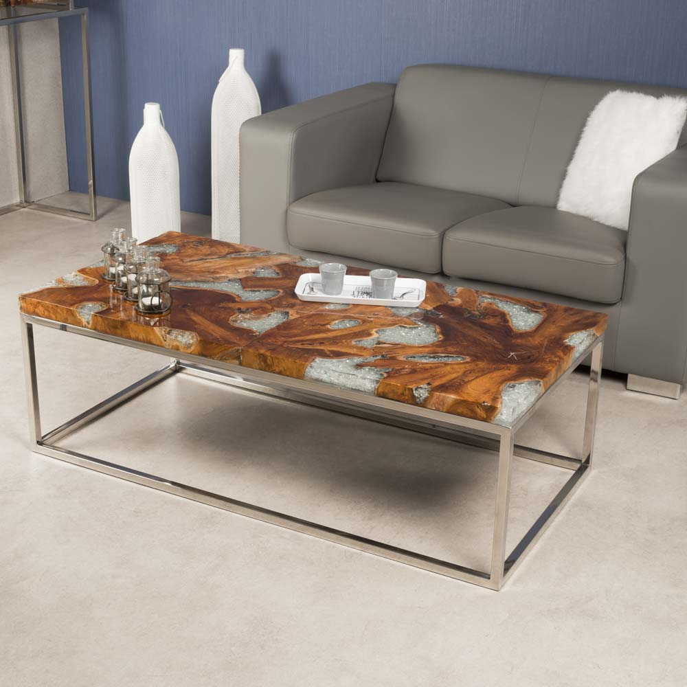 table basse en teck et inox tokyo 120. Black Bedroom Furniture Sets. Home Design Ideas