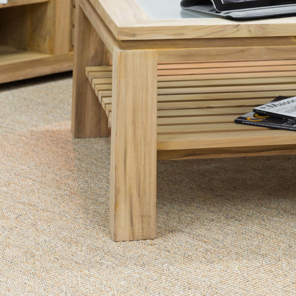 table basse carr e meuble en teck table basse en verre zen 80 cm. Black Bedroom Furniture Sets. Home Design Ideas