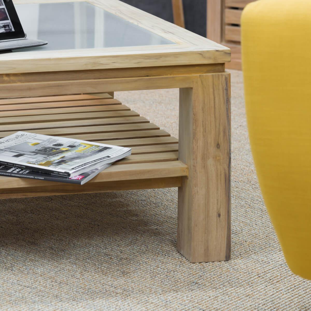 table basse en teck zen 80 x 80. Black Bedroom Furniture Sets. Home Design Ideas
