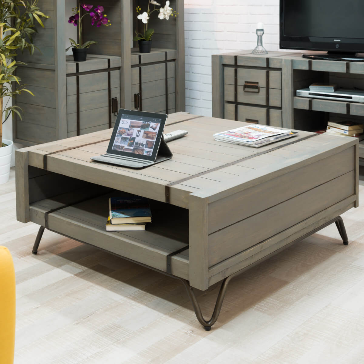 Table Basse Industrielle Meuble En Bois Rectangle Grise Mindi