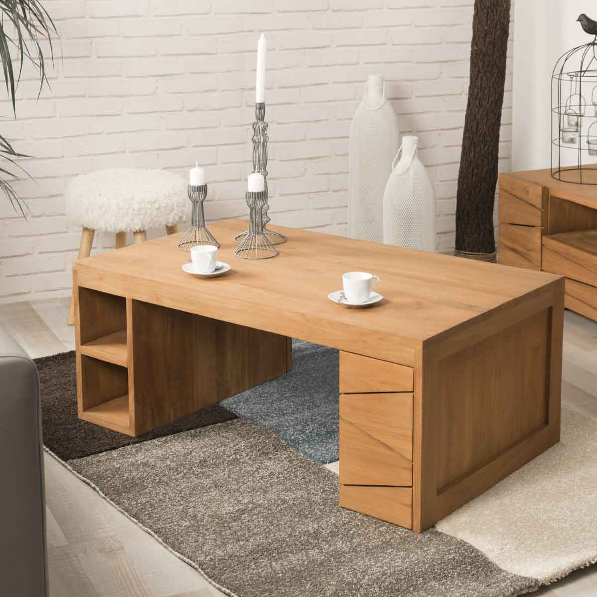 Table basse bois meuble en teck massif rectangle - Table de salon en teck ...