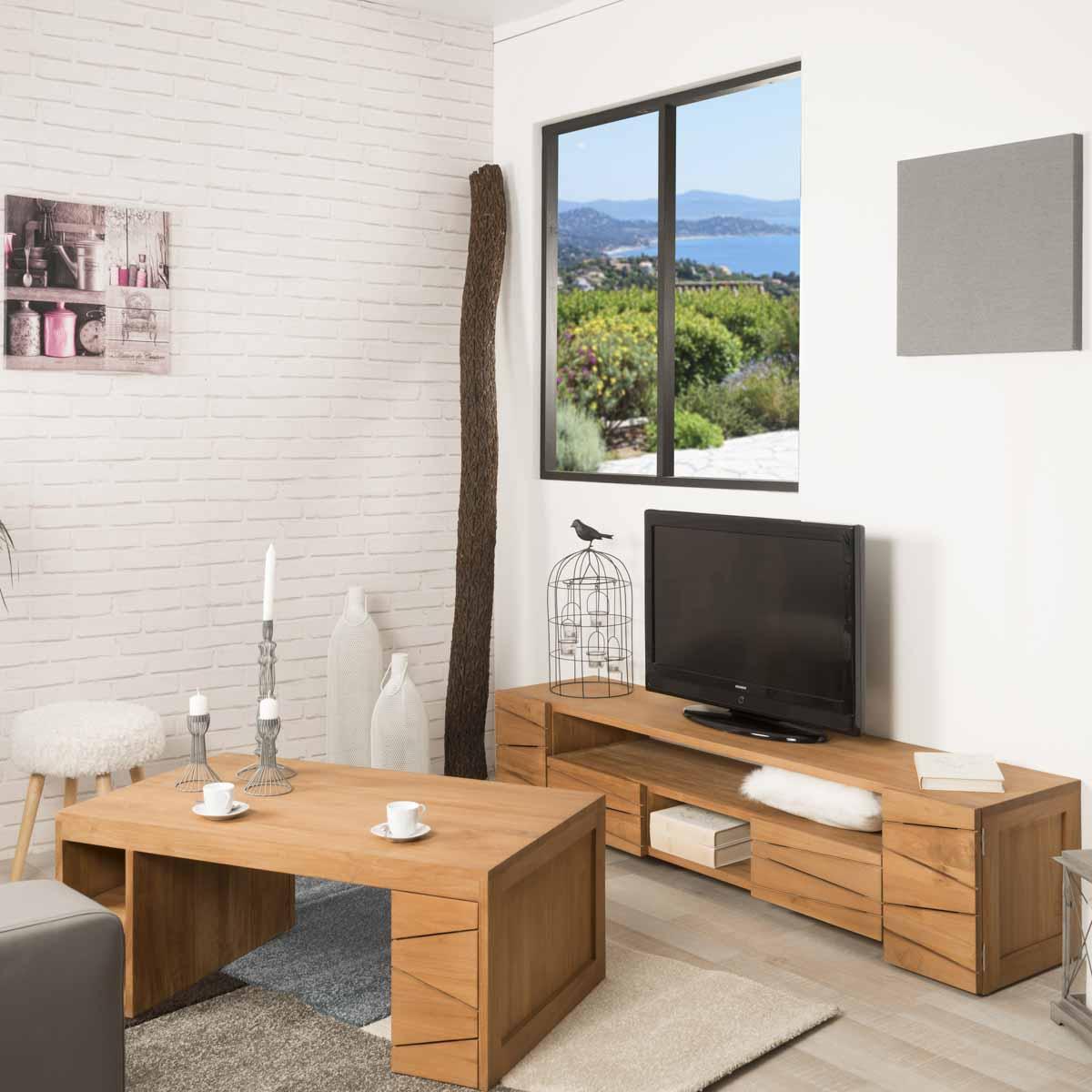Table de salon rectangulaire en teck s r nit 100 x 60 - Table de salon rectangulaire ...