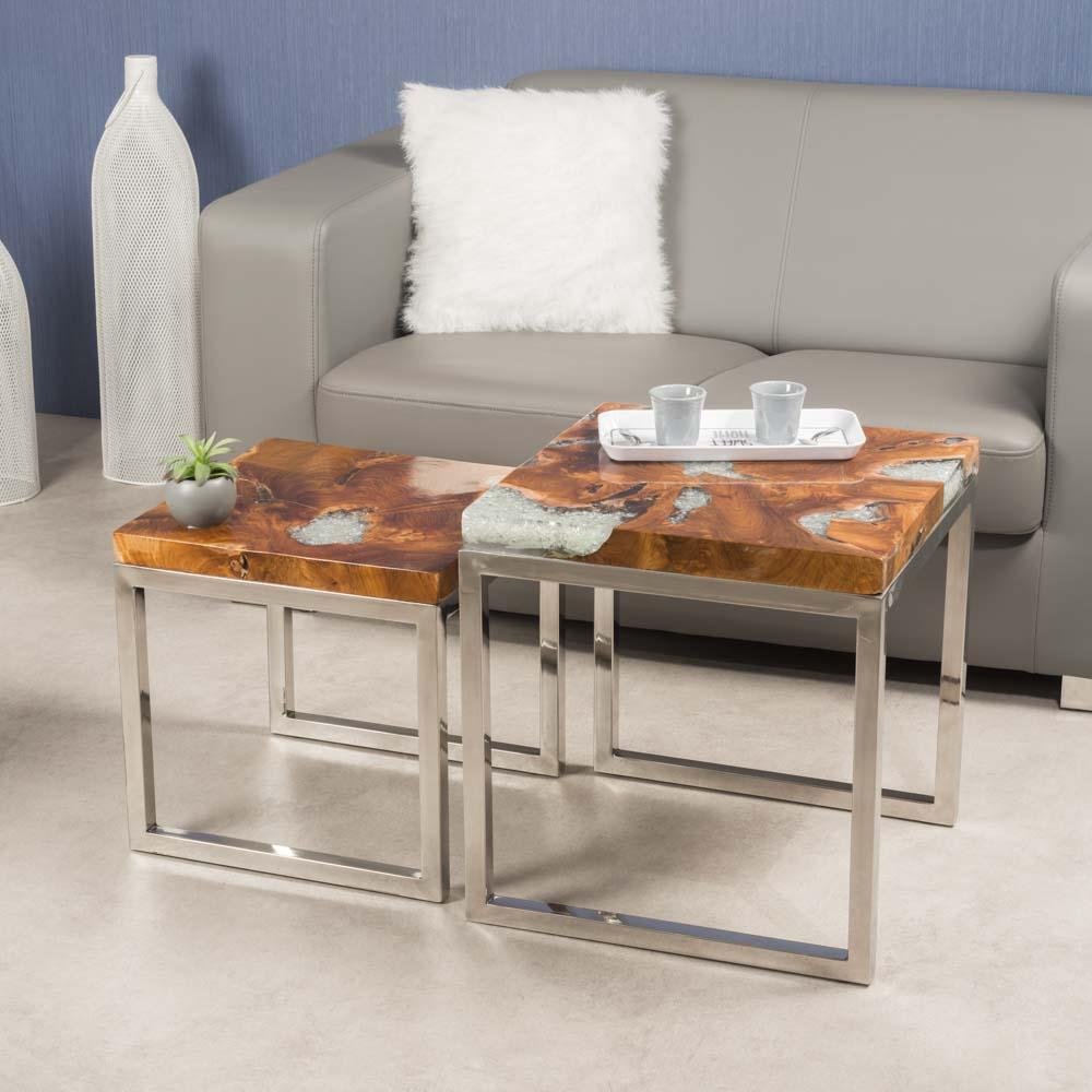 Table gigogne tables basses en teck verre alu tokyo - Table basse moderne divine collection ...