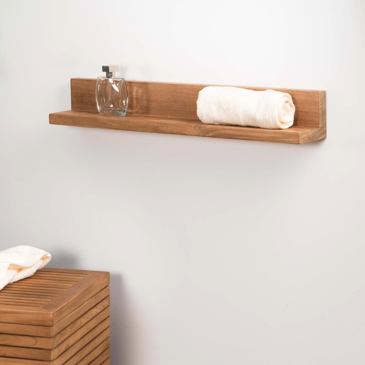 Tablette tag re cam lia salle de bain en teck massif 70cm - Etageres salle de bain ...