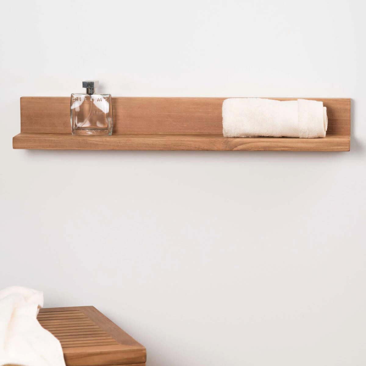 Tablette tag re cam lia salle de bain en teck massif 70cm - Tablette d angle salle de bain ...
