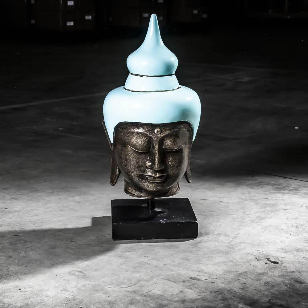 Statue bouddha tete de bouddha fibro ciment bleu for Tete de bouddha deco