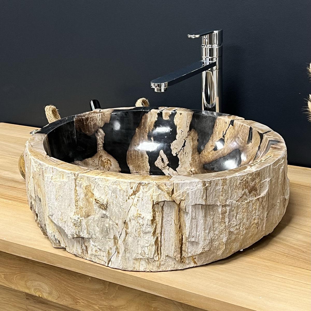 Vasque vasque poser bois p trifi fossilis 55 cm - Vasque en bois ...