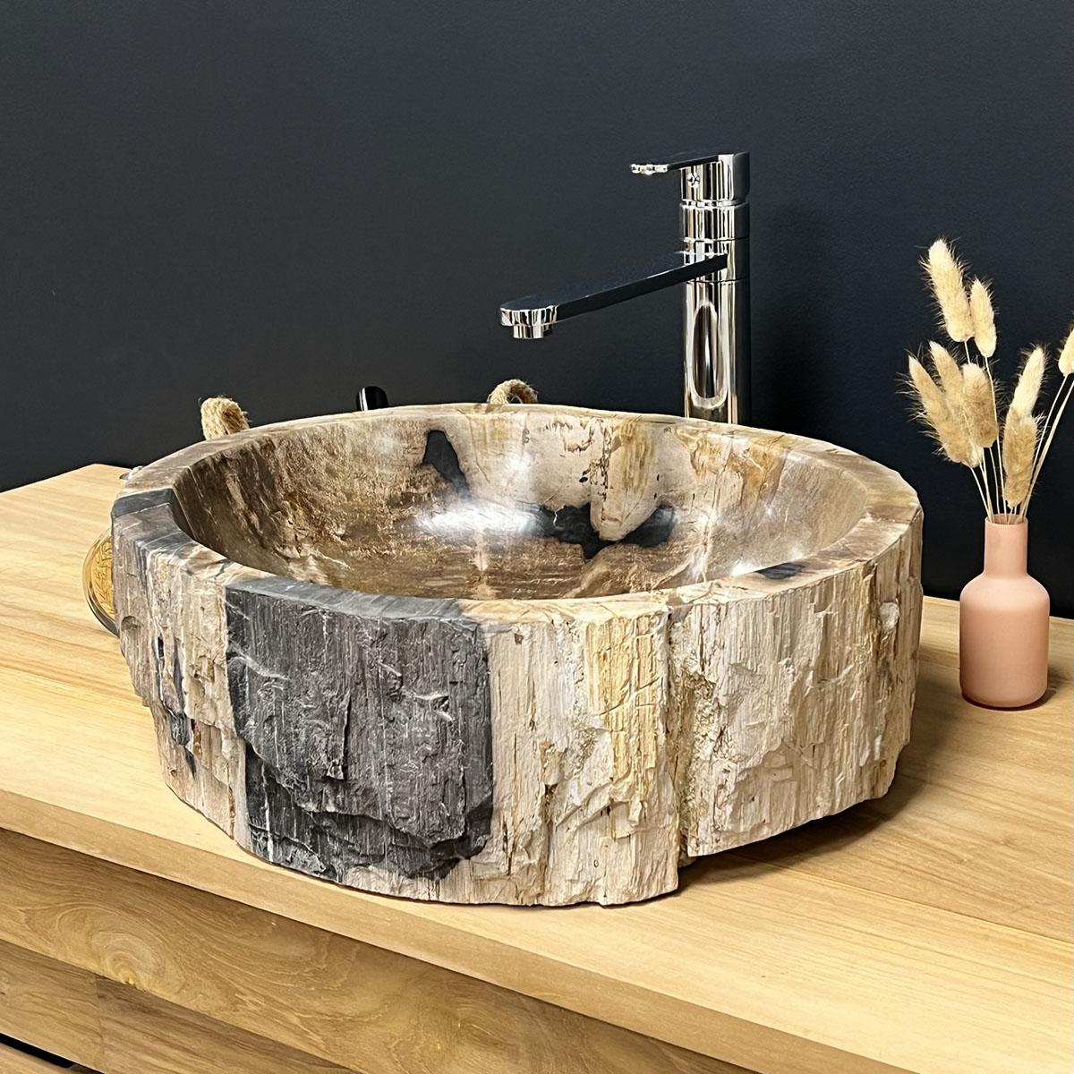 Vasque poser vasque en bois bois p trifi fossilis marron 65 cm - Vasque en bois ...
