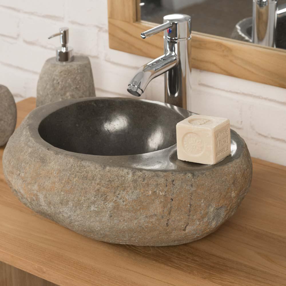 5c2723d427b19a Vasque à poser en galet de rivière + porte savon   naturel, L   35 cm