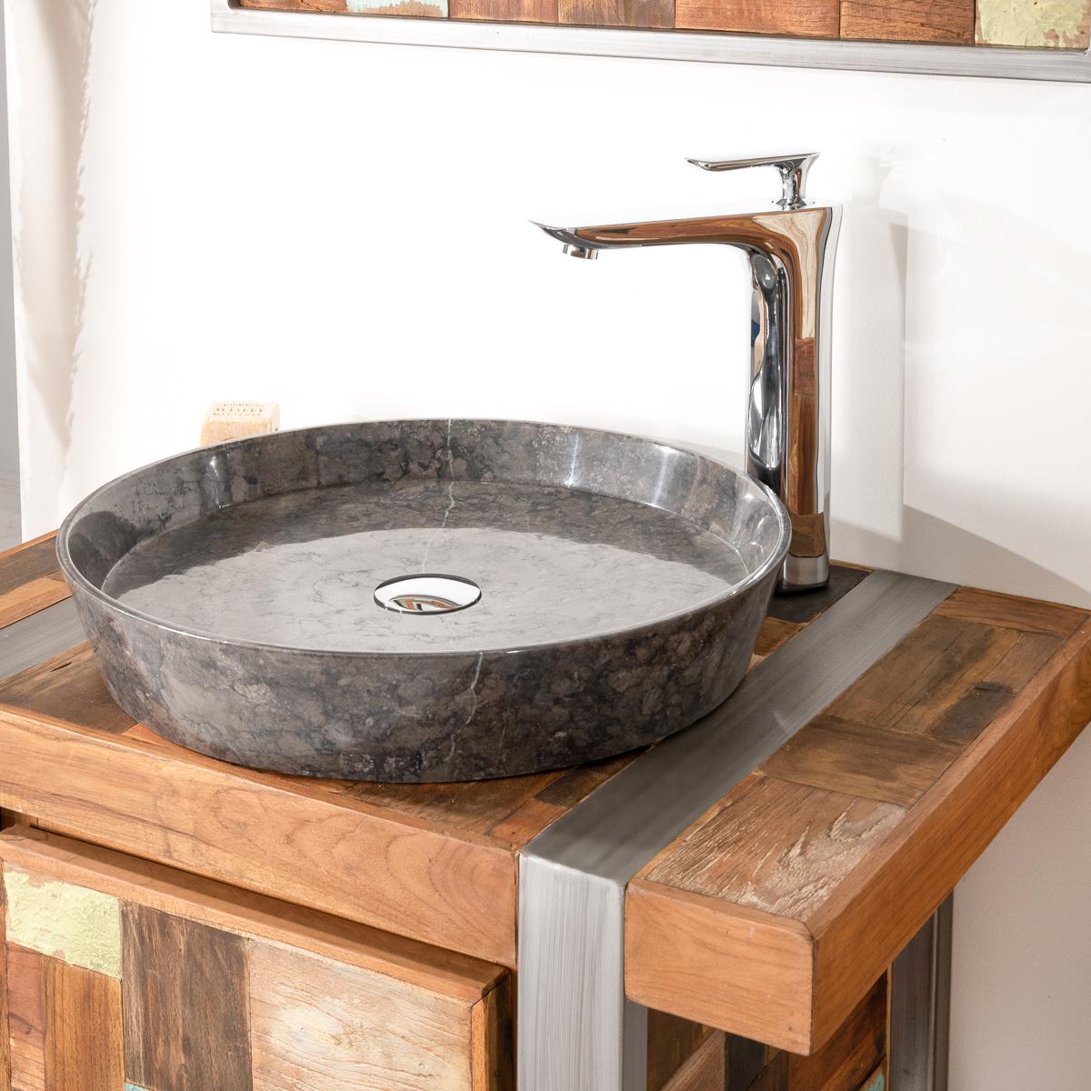 vasque poser en marbre pour salle de bain malo 45 noire. Black Bedroom Furniture Sets. Home Design Ideas