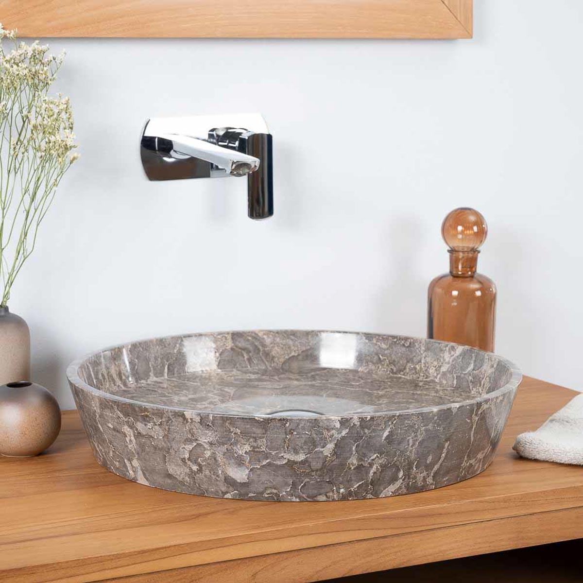 vasque poser en marbre pour salle de bain malo gris 45cm. Black Bedroom Furniture Sets. Home Design Ideas
