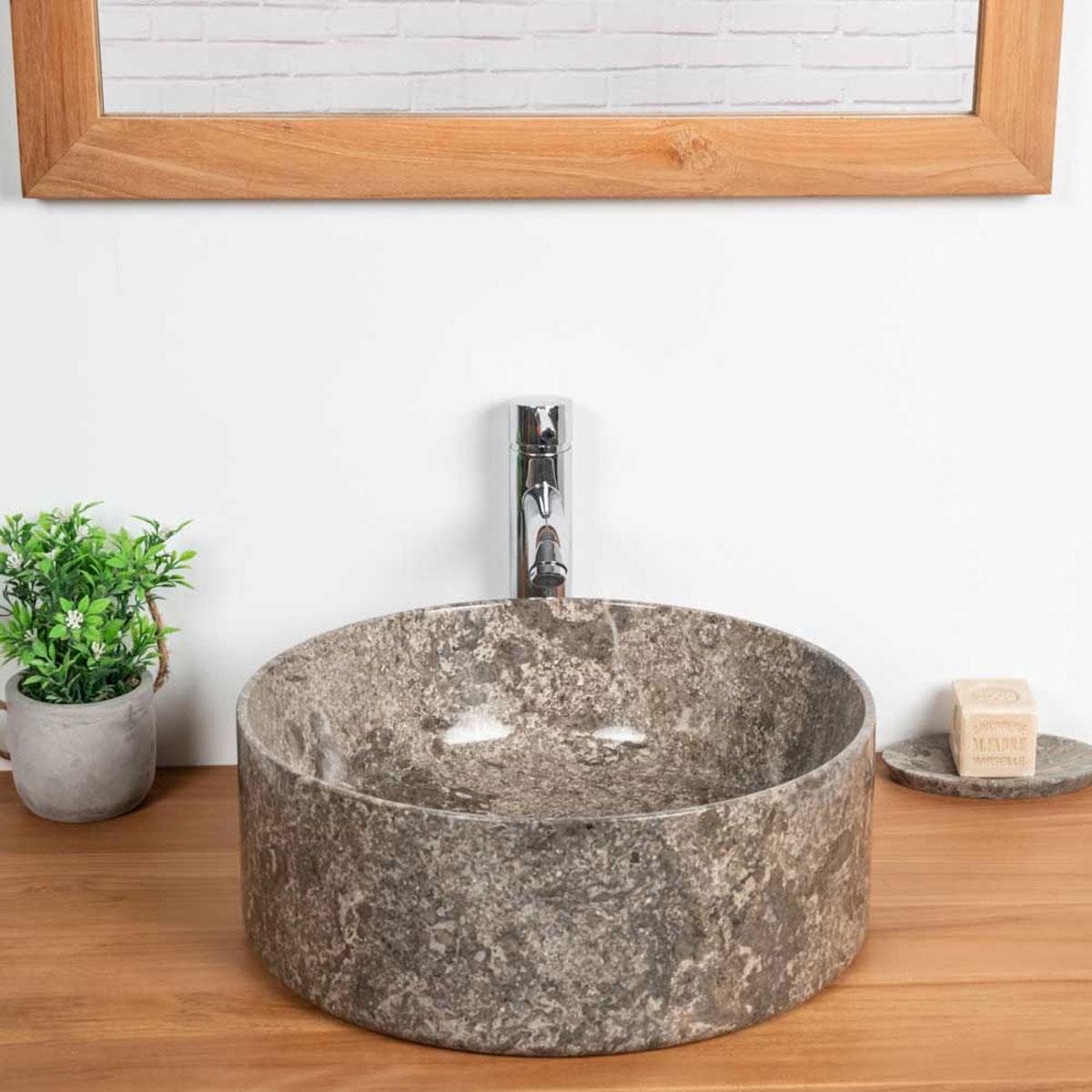 vasque poser en marbre pour salle de bain ulysse 40 gris. Black Bedroom Furniture Sets. Home Design Ideas