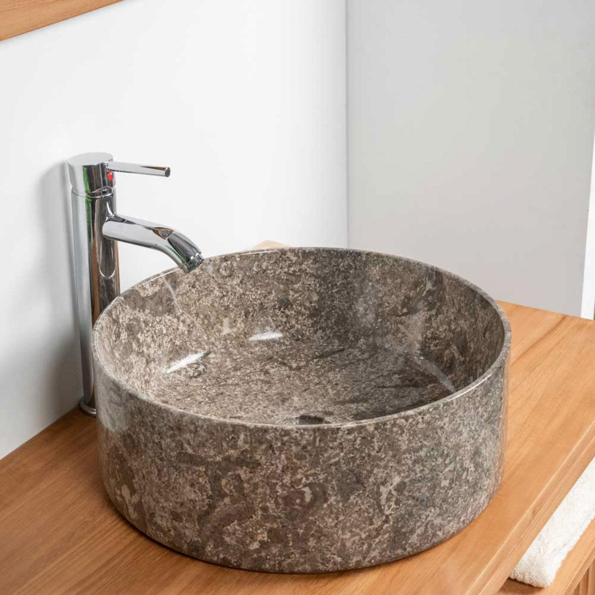 vasque poser en marbre salle de bain ulysse 40 gris. Black Bedroom Furniture Sets. Home Design Ideas