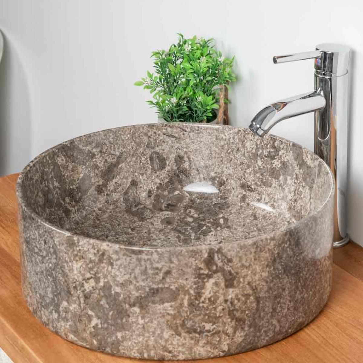 vasque poser en marbre salle de bain ulysse 40 gris meubles wanda collection. Black Bedroom Furniture Sets. Home Design Ideas