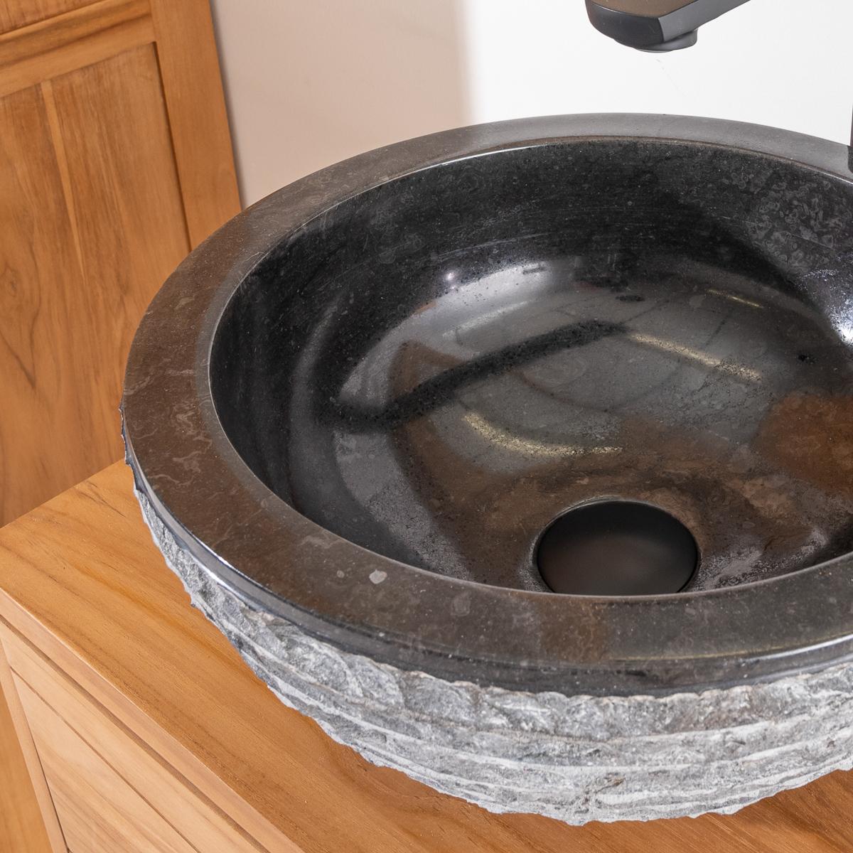 vasque poser en pierre marbre vesuve noir 35cm. Black Bedroom Furniture Sets. Home Design Ideas