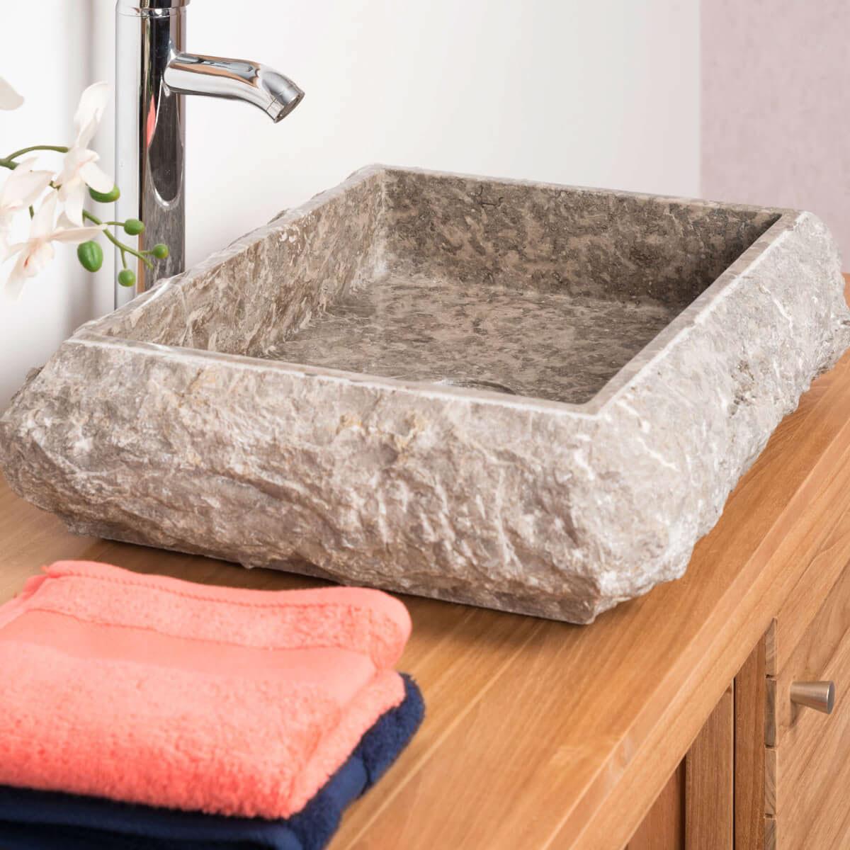 vasque poser en marbre naples rectangle grise taupe d 50 cm. Black Bedroom Furniture Sets. Home Design Ideas