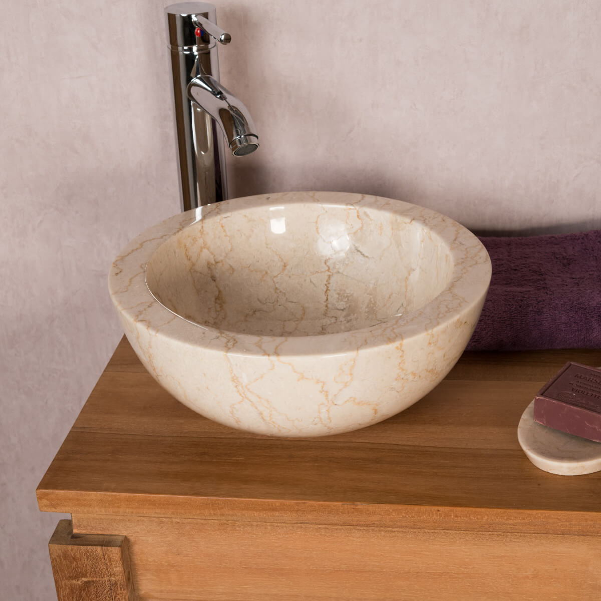 Vasque poser en marbre barcelone ronde cr me d 30 cm for Support salle de bain avec ventouse