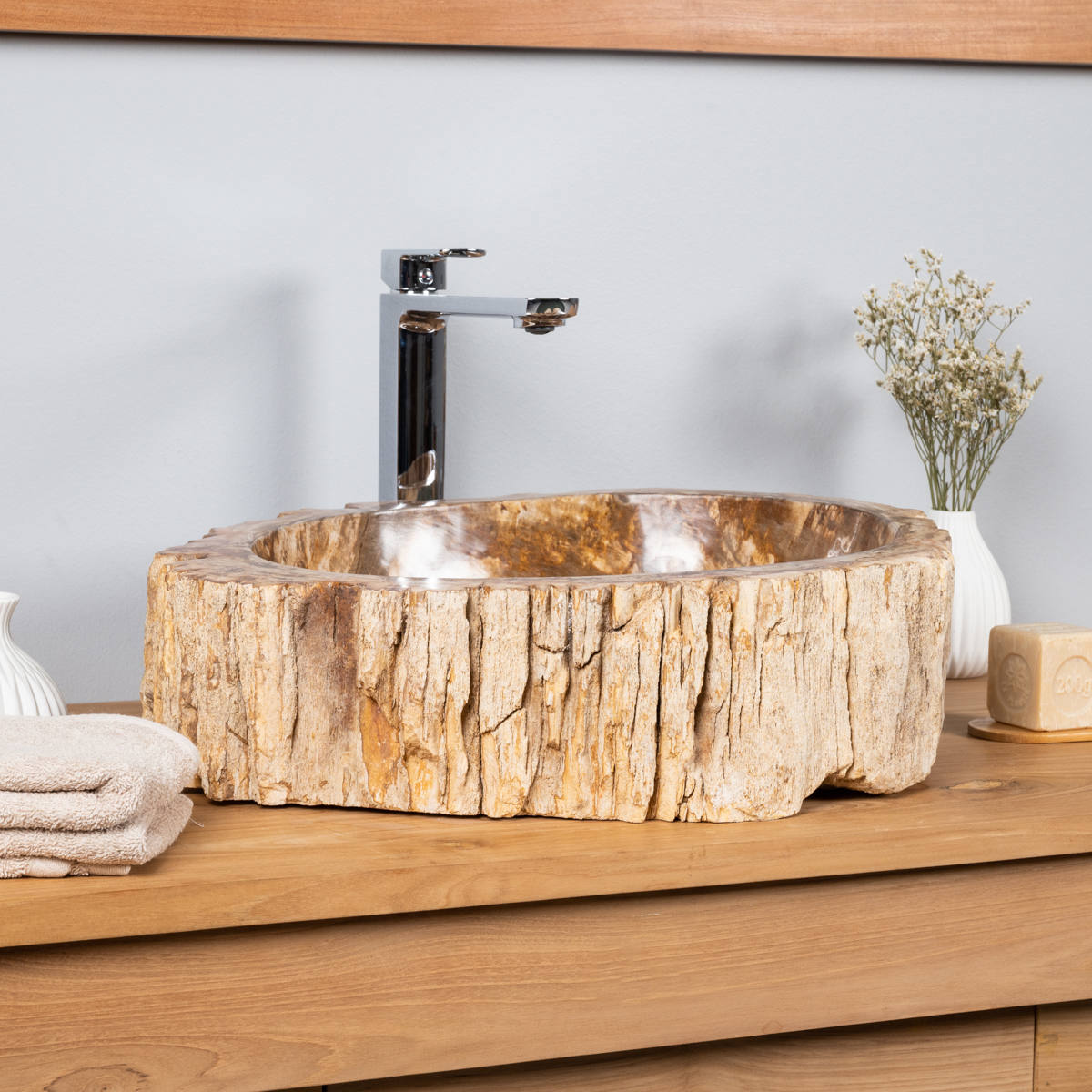 vasque poser vasque en bois p trifi fossilis 60 cm. Black Bedroom Furniture Sets. Home Design Ideas
