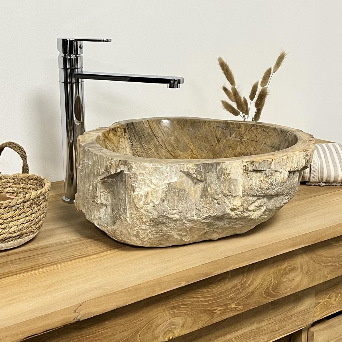 Vasque de salle de bain poser en bois p trifi 60 cm - Vasque salle de bain bois ...