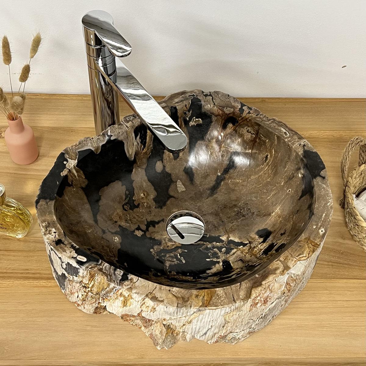 Vasque de salle de bain poser en bois p trifi fossilis 35 cm - Vasque salle de bain bois ...