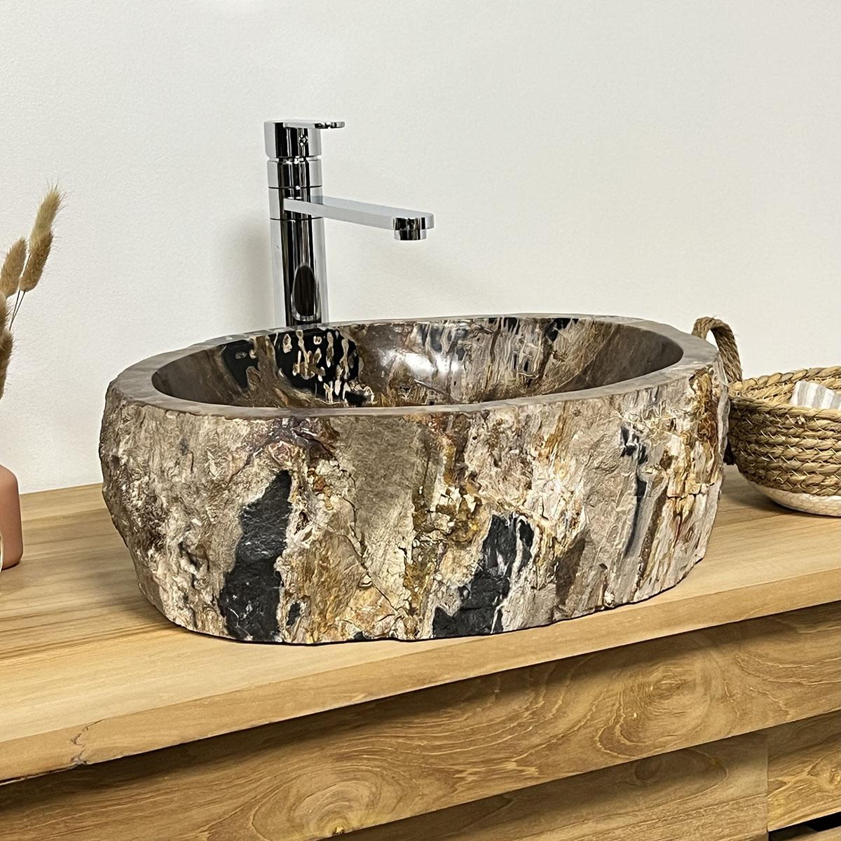 vasque poser en bois p trifi fossilis l 52 cm. Black Bedroom Furniture Sets. Home Design Ideas