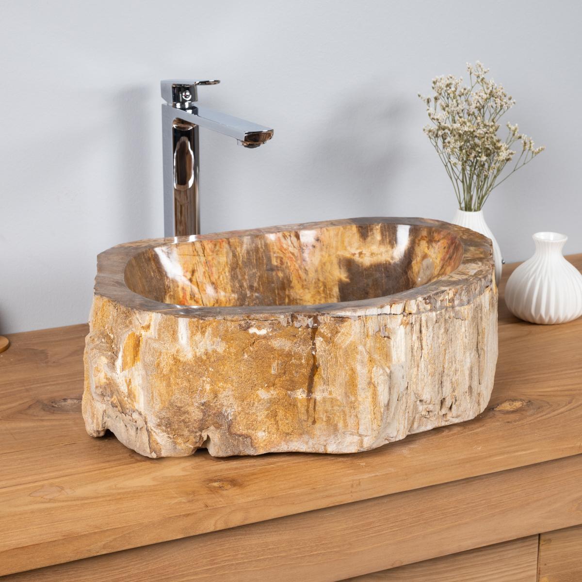 Vasque vasque poser bois p trifi fossilis l 47 cm x p 35 cm x h 16 cm - Vasque salle de bain bois ...