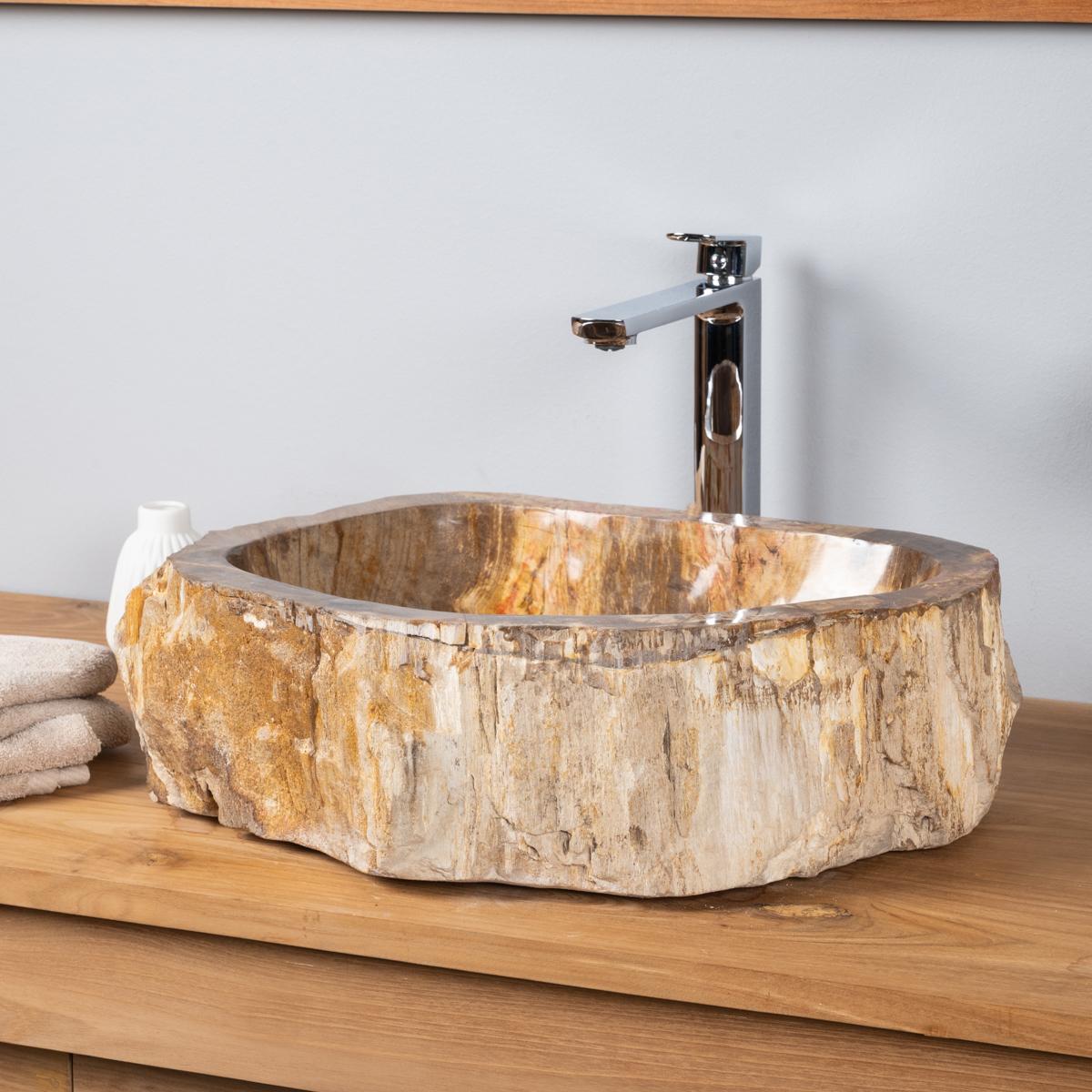 Vasque de salle de bain poser en bois p trifi fossilis 51 cm - Vasque salle de bain bois ...
