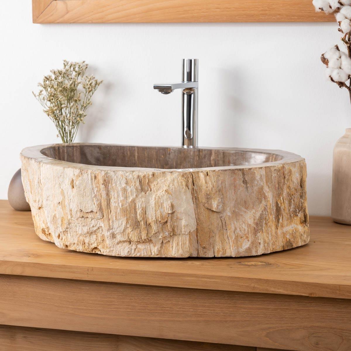 Vasque de salle de bain poser en bois p trifi fossilis 54 cm - Vasque salle de bain bois ...