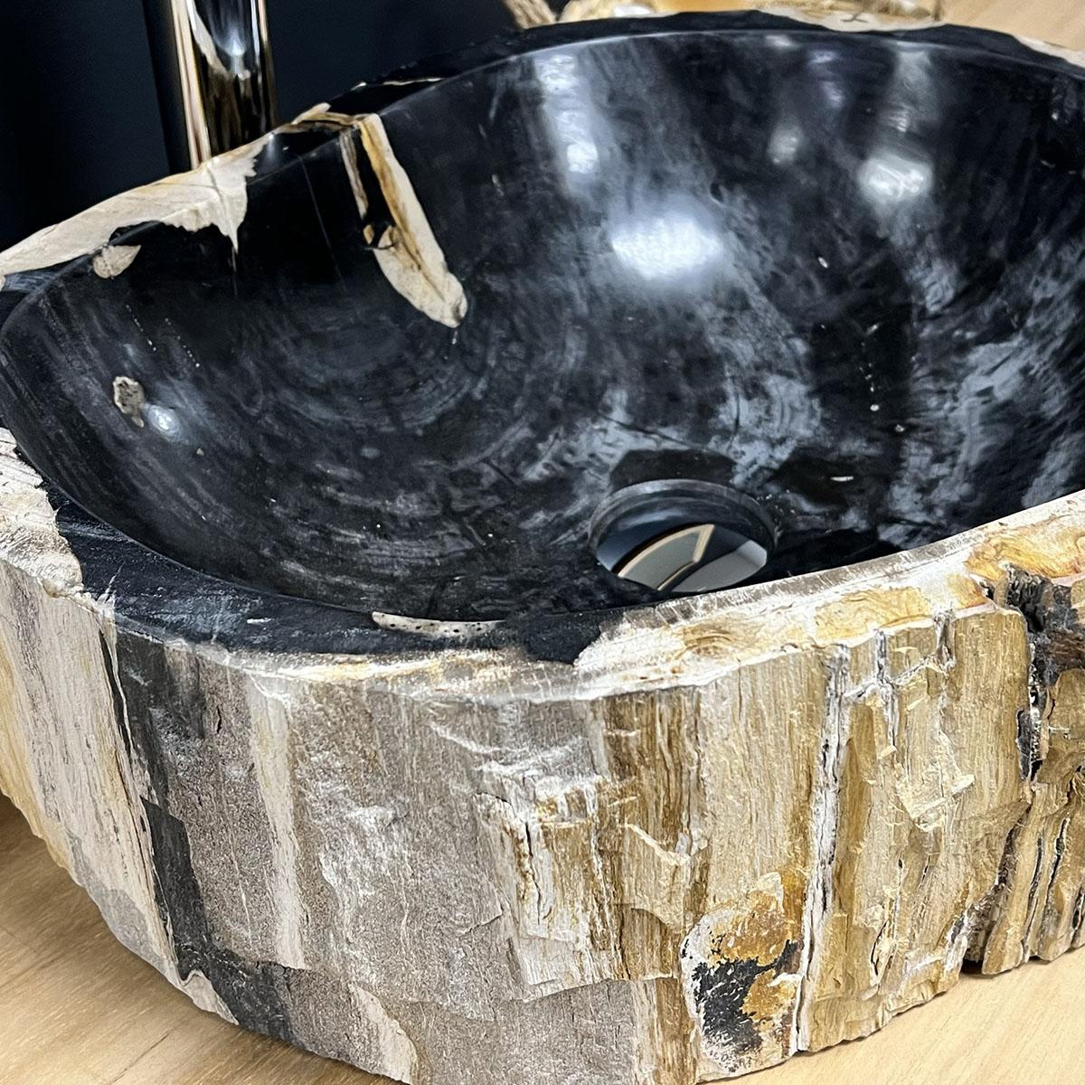vasque en bois vasque poser bois p trifi fossilis 60 cm. Black Bedroom Furniture Sets. Home Design Ideas