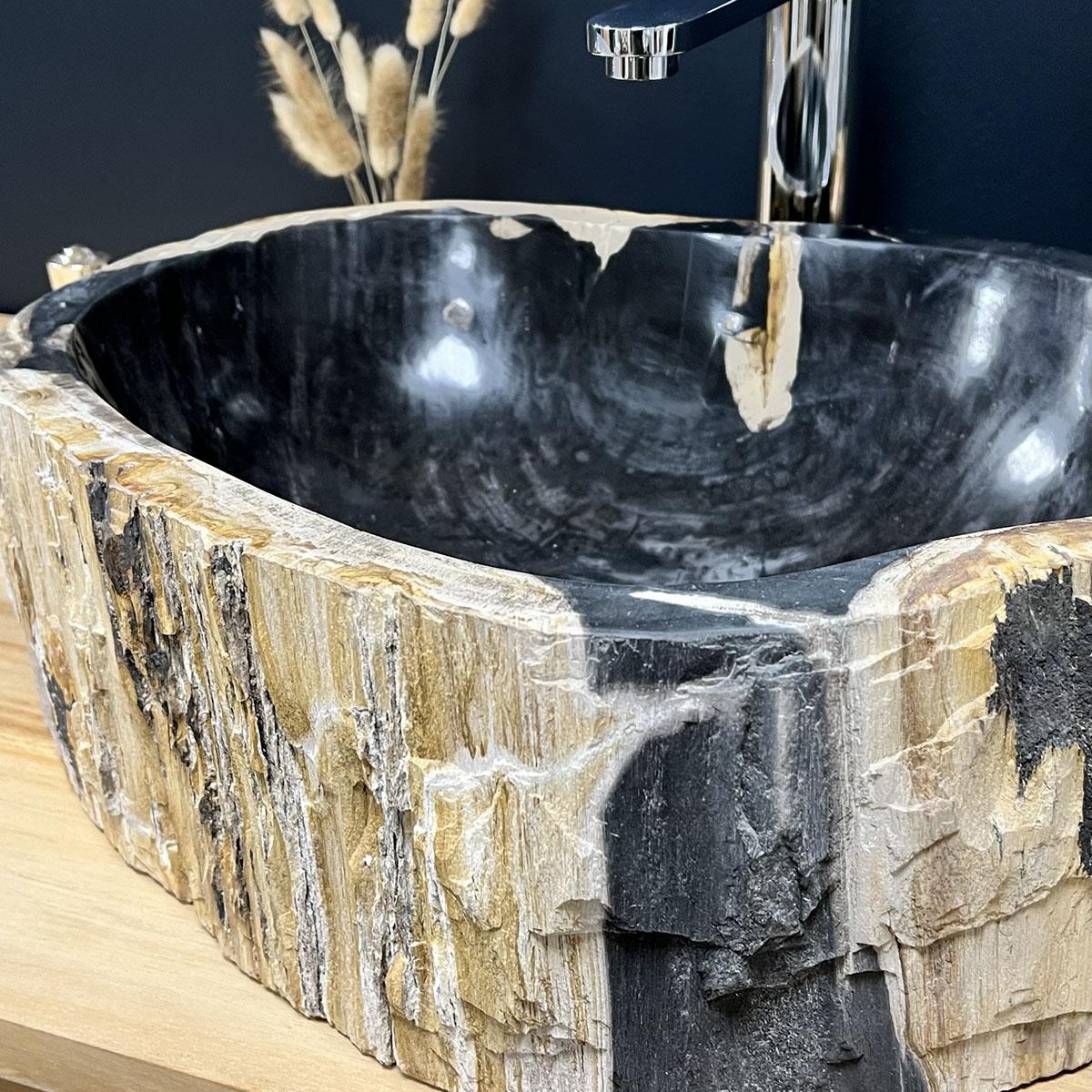 Vasque en bois vasque poser bois p trifi fossilis 60 cm - Vasque en bois ...