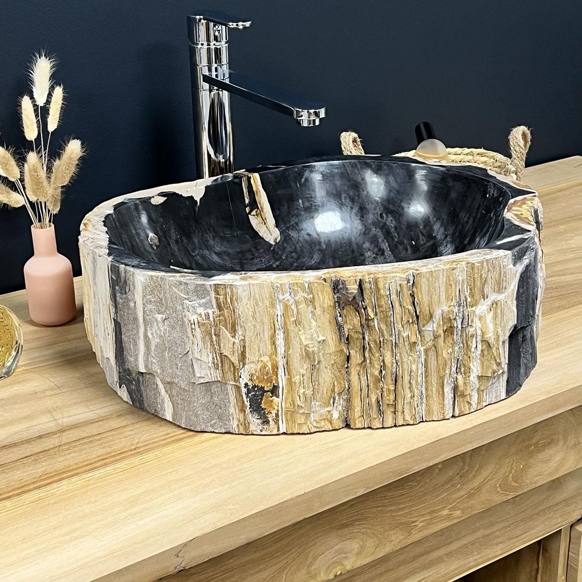 vasque poser en bois p trifi fossilis noire l 45 cm. Black Bedroom Furniture Sets. Home Design Ideas